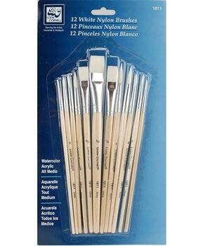 Loew-Cornell Short Handle Nylon Brush Set-White