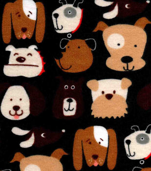 Snuggle Flannel Fabric-Dog Faces