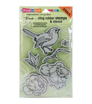 Stampendous® Cling Stamps & Stencil-Bird Blossom