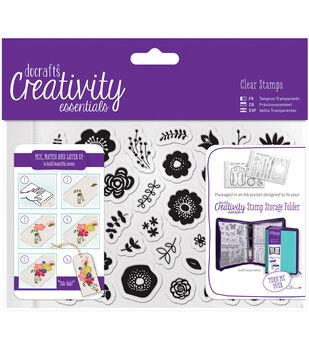 Docrafts Creativity Essentials A6 Clear Stamp Set-Folk Floral