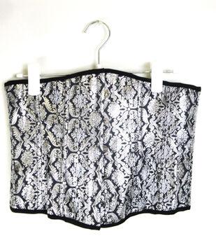 Maker's Halloween Large Brocade Corset-Black & Silver