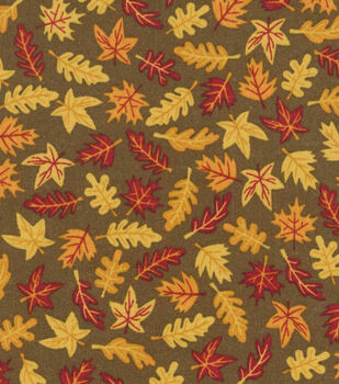 Autumn Mini Leaves Cotton Fabric Brown