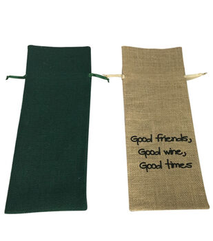 The 5 & Twine™ Natural And Green Burlap Wine Bags