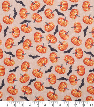Halloween Cotton Fabric-Bats And Pumpkins