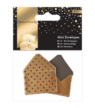 Docrafts Forever Friends Classic Decadence 10ct Mini Envelopes-Gold