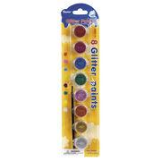 Glittery Paint Pot Pack, 8-Pack w/Brush, , hi-res