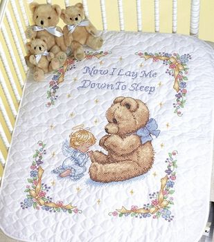 "Sweet Prayer Stamped Cross Stitch Quilt Kit-34""x43"""