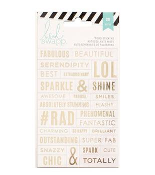 Heidi Swapp Stickers-Word Jumbles - Clear/Gold