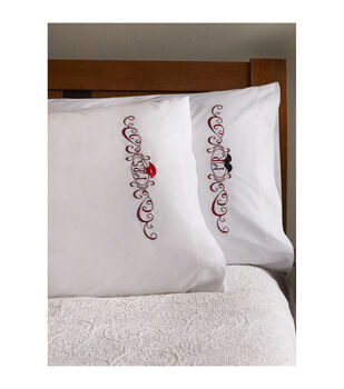 """Bucilla Stamped Embroidery Pillowcase Pair 20""""X30""""-Mustache & Lips"""