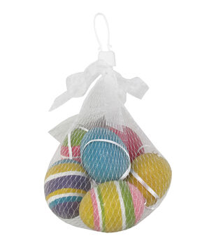 Easter 6pcs Eggs in Mesh Bag-Brights With Stripes
