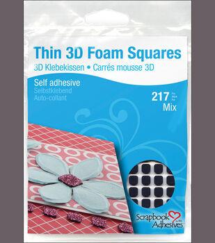 Thin 3D Foam Self-Adhesive Squares 217/Pkg-63-1mmx11mmx12mm, 154-1mmx6.35mmx6.35mm