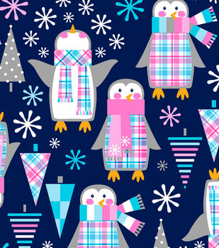 Easy Wash&Care Fabric-Penguin Plaid Trees Blue and Pink