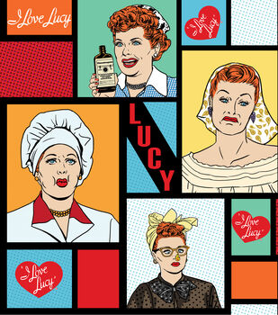 I Love Lucy Pop Art Cotton Fabric