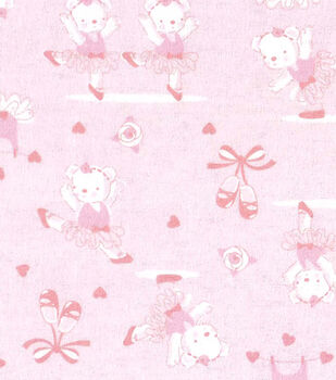 Snuggle Flannel Fabric-Teddy Ballerina