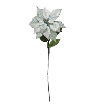 "Holiday Cheer 27"" Poinsettia Stem with Glitter-Blue"