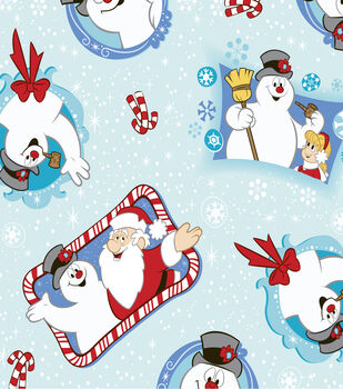 Holiday Inspirations Christmas Fabric-Frosty & Santa Toss