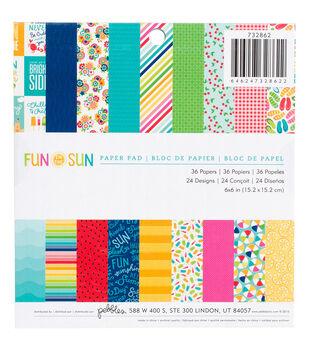 Pebbles Fun In The Sun Paper Pad 6''x6''