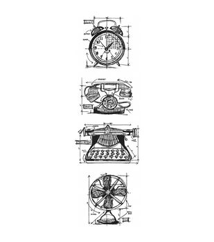Stampers Anonymous Mini Vintage Blueprints Strip Cling Stamps