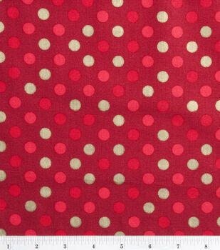 Holiday Inspirations Fabric-Gold Dots On Red