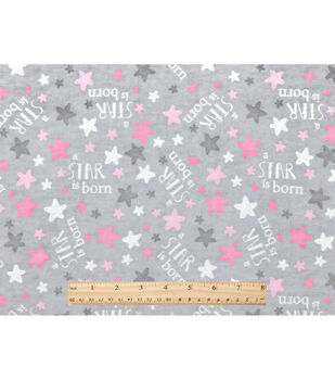 Nursery Flannel Fabric-A Star Is Born Grey Pink