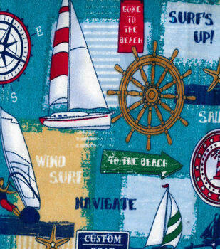 Snuggle Flannel Fabric-Sail Away