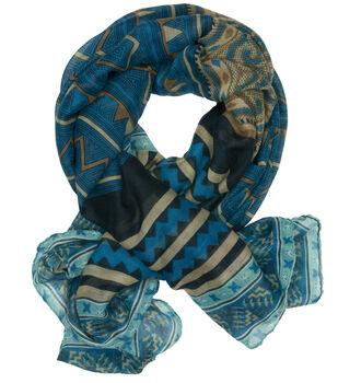 Laliberi Ready To Wear Scarf in Blue Tribal Print