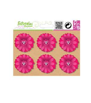 Embellishment Set-Daisy Flower-6 Pcs-Fuchsia
