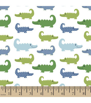 Nursery Flannel Fabric-3D Gator Little Gentleman