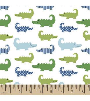 Nursery Flannel Fabric-3D Gator Little Gentleman