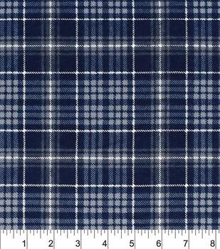 Snuggle Flannel Fabric-Navy Grey Plaid
