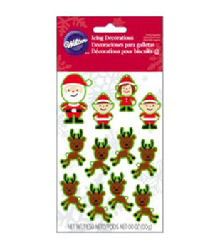 Wilton® Dot Matrix Icing Decorations 12/Pkg-Santa & Elves