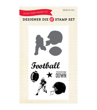 Echo Park Paper Company Football Die & Stamp Combo Set