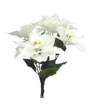 "Holiday Cheer 21"" Poinsettia Bush-White"