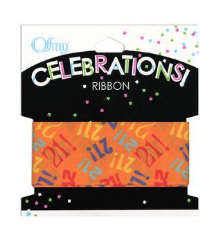"""Offray Celebrations Ribbon 1.5"""" x 9'- Birthday"""