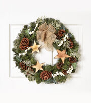 Blooming Holiday 24'' Wooden Star & Pinecone Wreath, , hi-res