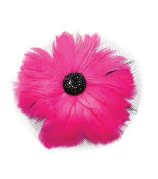 Pink Feather with Netting Pin Clip