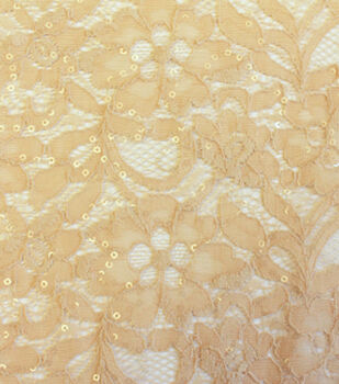 Bridal Inspirations Fabric- Sequin Lace Champagne
