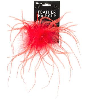 RED    -OST FEATHR HAIR CLIP