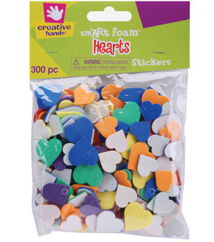 Fibre Craft Foam Stickers-300Pk/Hearts