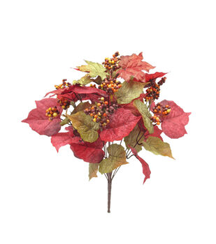Blooming Autumn 19'' Grape Leaves & Berry Bush-Green & Burgundy