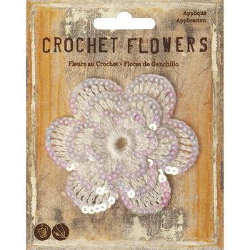 "3"" Sequined Crochet Flower Applique"