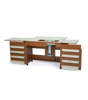Homespun Bertha Sewing Machine Cabinet Oak