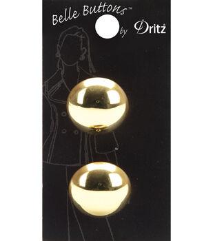 Belle Button-Gold Smooth Round 23Mm