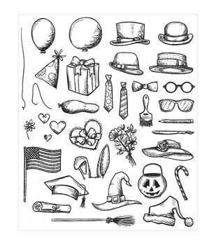 Stampers Anonymous® Tim Holtz Crazy Things Cling Rubber Stamp Set