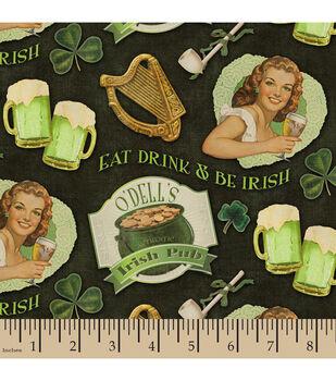 St. Pat's Print Fabric-Vintage Drink Irish Green