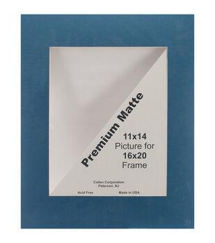 "Photo Mat 16""X20"" Single Hand-Cut With Bevel Edge-Dark Blue/White"