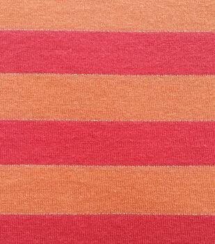 Doodles Collection Lurex Stripe Orange Raspberry Fabric