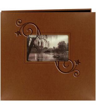"Pioneer 12""x12"" Leatherette Postbound Album-Brown Floral"