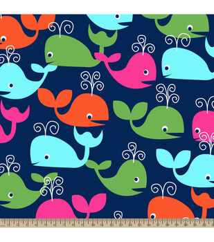 Blizzard Fleece Fabric - Whales