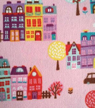 Snuggle Flannel Fabric-Pink Townhouses